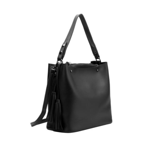 sale retailer 96e29 c2069 black double peta chain crossbody bag with ... 227cb95b3f